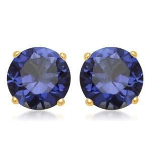 , September Birthstone, Created Ceylon Sapphire 7 mm Round Earrings