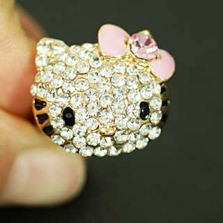 r6269 Kitty Cat Rhinestone Gemstone Adjustable Cocktail Ring Free
