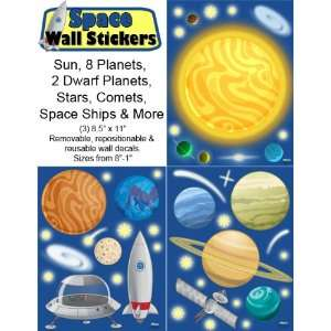 Space Wall Decals (45) Peel & Stick Removable Outer Space Wall sticker