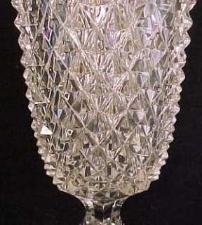 Diamond Point Flint Pattern Glass Celery Vase
