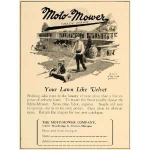 1928 Ad Moto Mower Company Lawn Grass Cutter Antique   Original Print