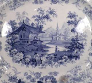 Magnificent Antique GENEVESE BLUE & WHITE TRANSFERWARE SERVING PLATTER