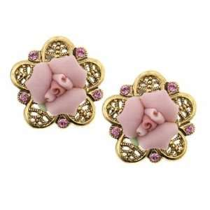 Porcelain Rose Gold Pink Stud Earrings