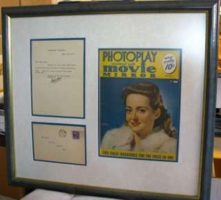 1939 BETTE DAVIS AUTOGRAPH SIGNED LETTER TO CHAW MANK