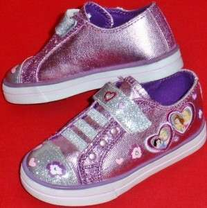 Toddlers DISNEY PRINCESS HEARTS LIGHTS Purple/Silver Sneakers Shoes