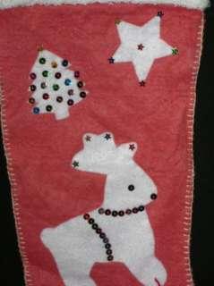 Handmade Felt Sequin Christmas MOM Stitched Applique Stocking