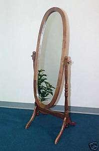 3488O~NEW Oak oval wood Swivel Floor Cheval Mirror