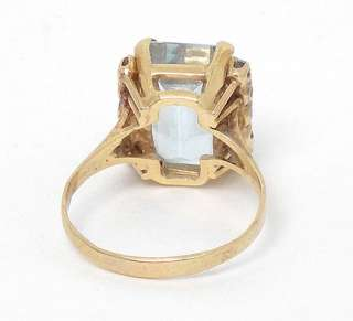 14k GOLD 5.9ct EMERALD CUT AQUAMARINE DIAMONDS RING