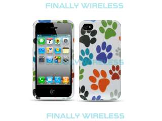 White Colorful Dog Paw Prints Design Snap on Case Cover Apple iPhone 4