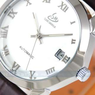 Retro Boy Size Lady Girl White Automatic Mechanical Calendar Watch
