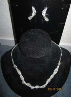 Wedding Bridal Rhinestone Necklace Earrings Choker Set