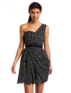 NWT Jessica Simpson Polka Dot Chiffon One Shoulder Cocktail Dress 6 $