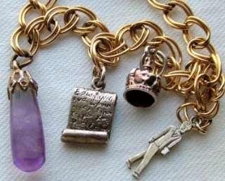 Gold Link Amethyst Crystal Silver Man Book Crown Charm Bracelet