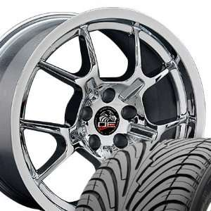 GT4 Style Wheels and Tires Fits Mustang (R)   Chrome 18x9