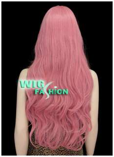 New Fashion Long Curly Milkshake Pink Hair Wig
