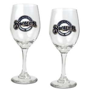 Milwaukee Brewers MLB 2pc Wine Glass Set   Primary Logo