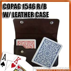Copag Plastic Cards Leather Case Set 1546 Red/Blue Poker, Jumbo Index