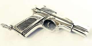 SEMI AUTO PISTOL HANDGUN GUN STERLING SILVER PENDANT