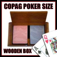 Copag 100% Plastic Cards & Wood Box Export Poker Jumbo