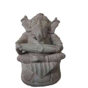 Ganesh Idol Altar Statue Playing Dholak Ganesha Hindu God