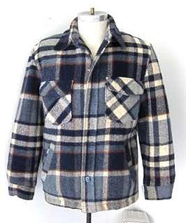 Vtg 60s 70s  Blue Plaid Western Hunting CPO Jacket Coat Faux Fur