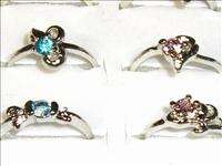 LOTS SILVER CRYSTAL COLOR STONE COSTUME FASHION JEWELRY RINGS