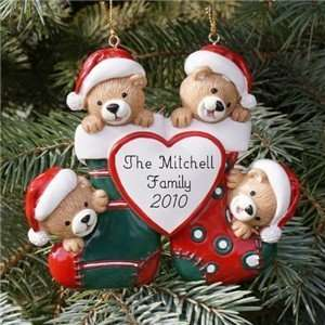 Personalized Teddy Bear Family Christmas Tree Ornament