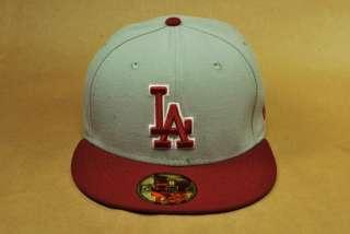 LOS ANGELES DODGERS BIG SIZE MEN GREY BURGUNDY CUSTOM FITTED HAT