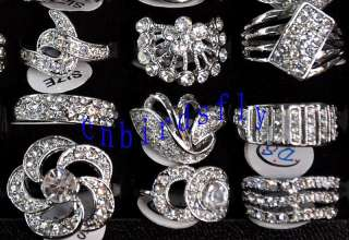 Wholesale mixed lots 25 crystal cz silver P rings gift