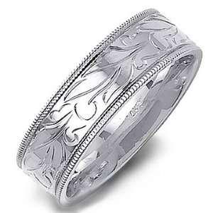 14K White Gold Milgrain Diamond Cut Design Wedding Band Ring Jewelry