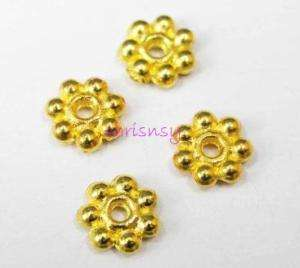 300pcs Finding Spacer Beads Gold Plated Daisy Flower