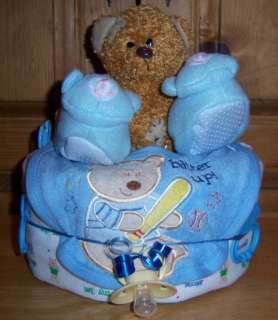 Single Tier Diaper Cake, Bear, Duck, Safari, Prince, Princess, BONUS