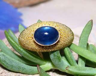 EXQUISITE 22K RARE 2.94ct CATS EYE BLUE SAPPHIRE RING 8