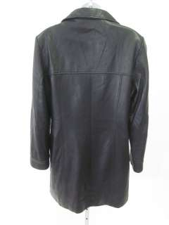 DANIER Black Leather Button Down Jacket Coat Sz 10 12