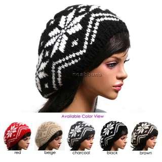 Nordic Snowflake BEANIE Ski Beret Winter Hat Cap s4X