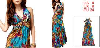 Multi Color Peacock Feather Prints Halter Dress for Woman S