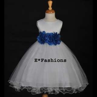 WHITE ROYAL BLUE BRIDAL FLOWER GIRL DRESS 12M 18M 2 2T 3 3T 4 4T 5 6