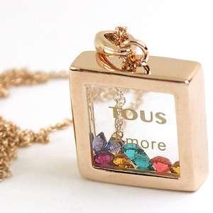 Rose Gold Swarovski Cystal square Pendant Necklace k66