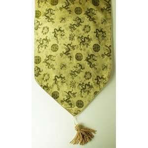 Chinese Decorative Table Runner   Gold with Classic Chinese Dragon