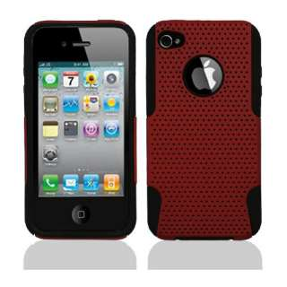 4gs Red/Black Hybrid case cover + Screen Protector+Car Charger