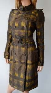 NWT BURBERRY $1,495 DEGRADE OCHRE NOVA CHECK MILITARY TRENCH COAT
