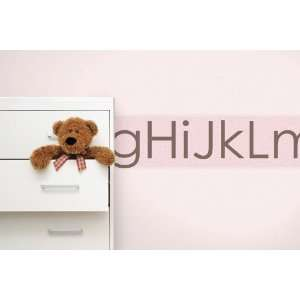 Alphabetical Pink/Brown Mural Style Wall Border Home
