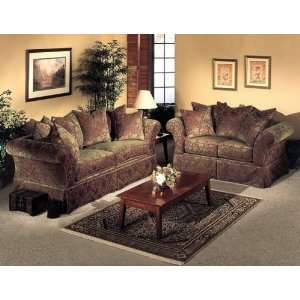 2PC Victoria Burgundy Green Fabric Sofa Couch Loveseat Set