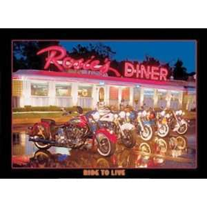 Ride to Live Metal Tin Sign Rosies Diner Kitchen