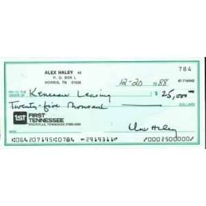 ALEX HALEY signed personal check AUTHOR OF ROOTS   Sports