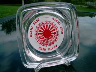 VINTAGE ASAHI BEER RISING SUN LOGO JAPAN CLEAR GLASS DISH / ASHTRAY