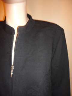 Marina Rinaldi Black Floral Wool Zip Front Jacket 23