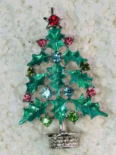 MULTI COLORS CRYSTAL HOLLY LEAVES CHRISTMAS TREE PIN BROOCH G326