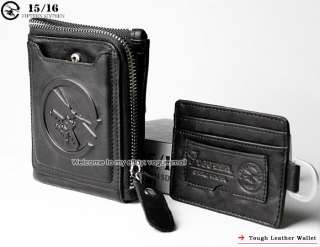 New Tough Punk Mens Black Genuine Leather Wallet 2262b