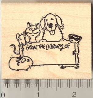 From the Library of dog cat rubber stamp H11016 WM